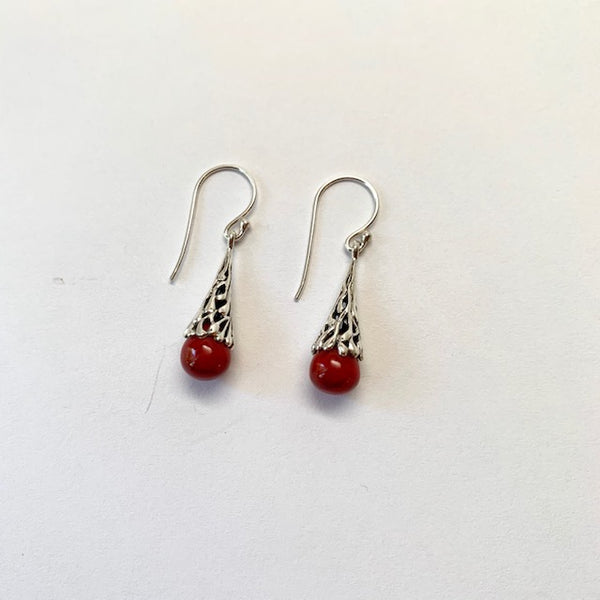 RED CORAL TEARDROP EARRINGS