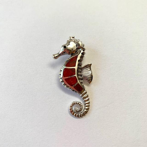 RED CORAL SEAHORSE PENDANT