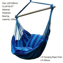 Load image into Gallery viewer, Garden Hanging Chair Swinging Hammock Hanging Rope Chair Swing Chair Seat with 2 Pillows for Garden Indoor Outdoor Dropshipping