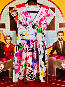 Funk me UP Fabulously Fitted  Print Table Cloth Dress