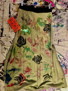 "Upcycled Peach Berserk Drop Cloth Crazy Skirt ""lipstix and roses"""