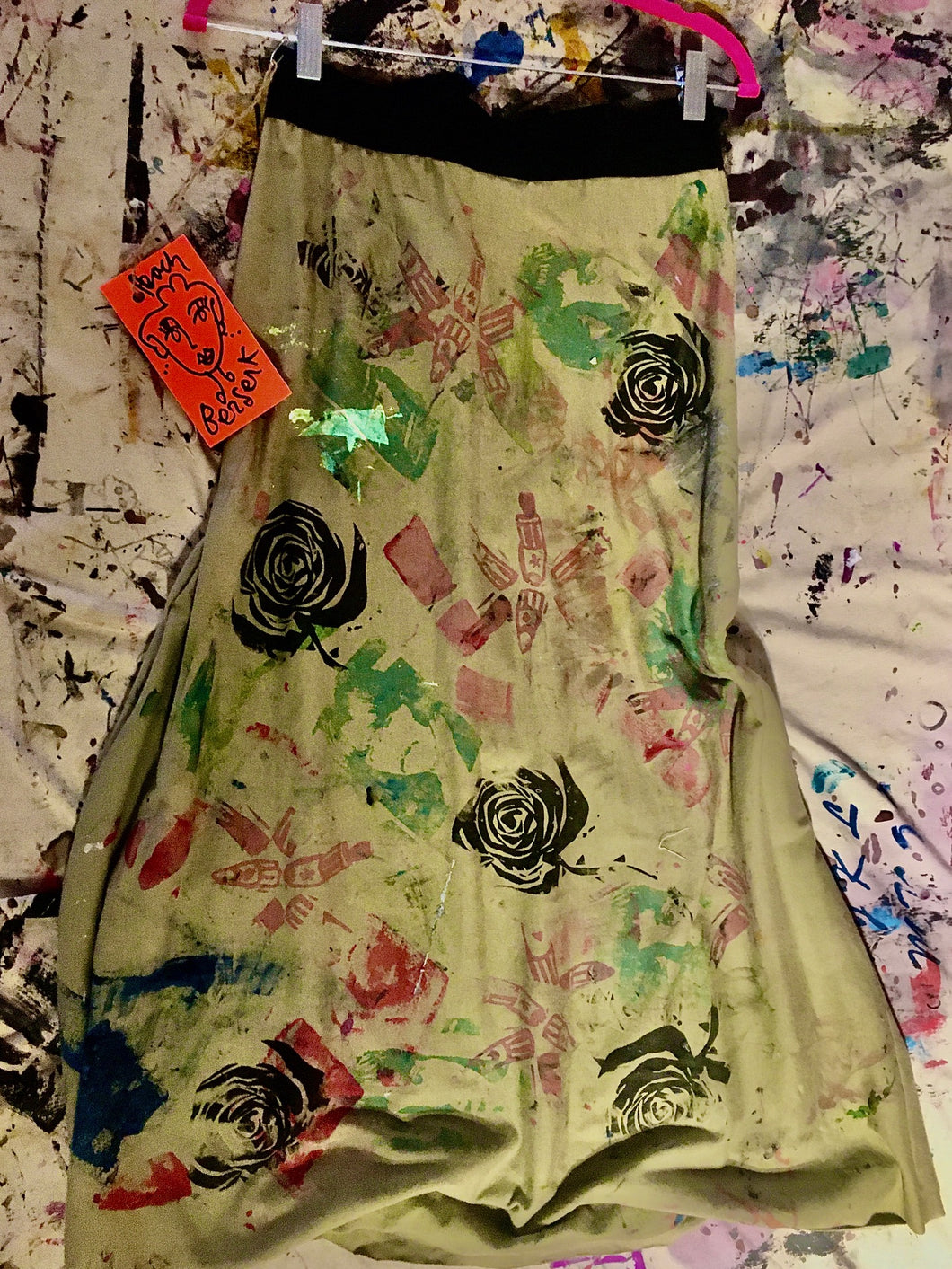 Upcycled Peach Berserk Drop Cloth Crazy Skirt