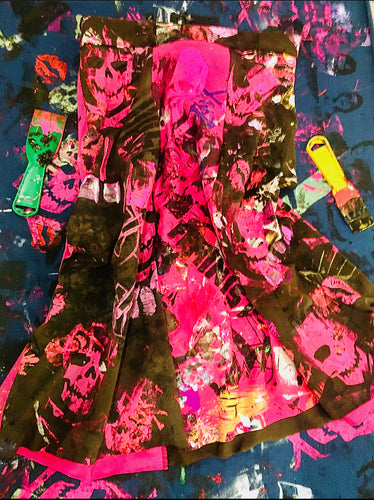 Funky Crazy Peach Berserk Drop Cloth Knit Skirt with Skulls and FEMINIST stuff !!