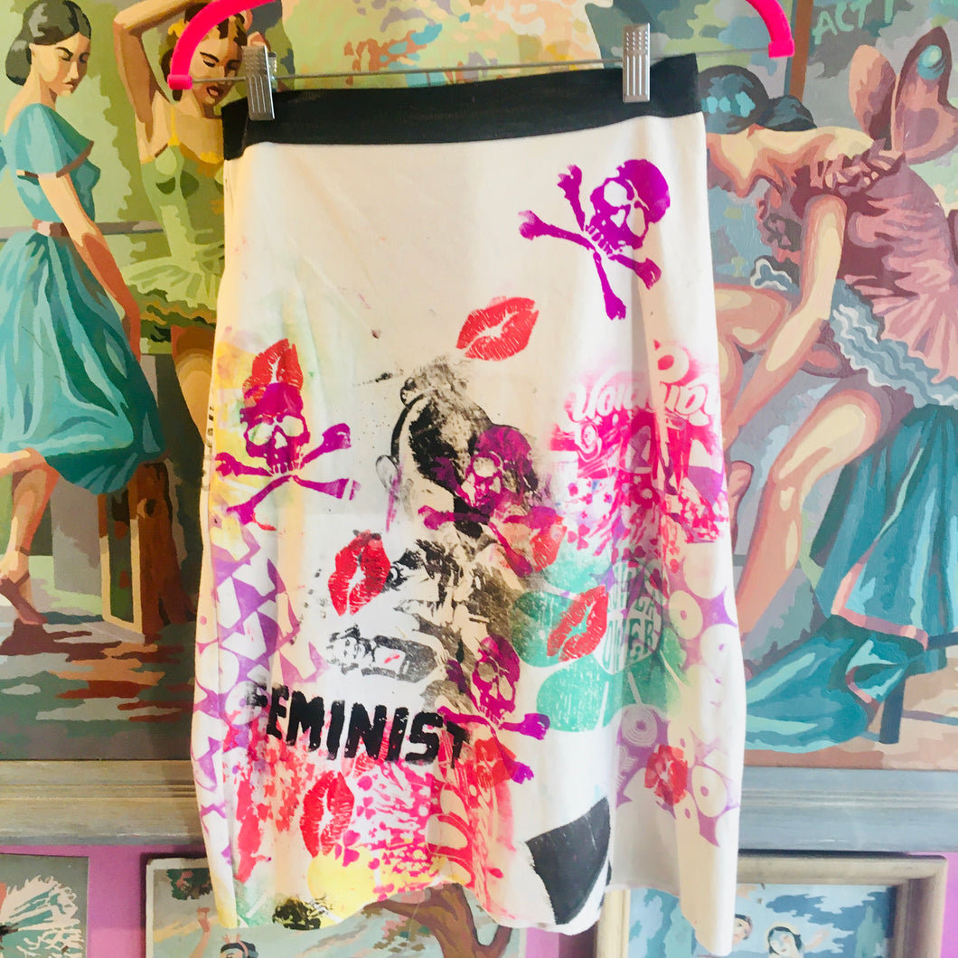 Upcycled Peach Berserk Drop Cloth Crazy Skirt-