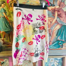 "Upcycled Peach Berserk Drop Cloth Crazy Skirt- ""Krazy Kiss + Kooky Skull Art"""