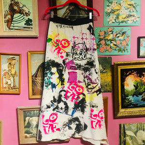 "Upcycled Peach Berserk Drop Cloth Crazy Skirt- ""Bowie LOVE"""