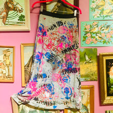"Upcycled Peach Berserk Drop Cloth Crazy Skirt- "" Feminist 'n Funky"" !!"