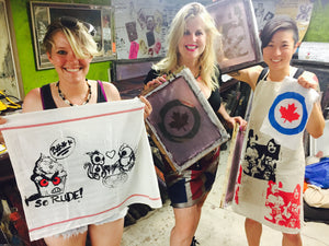 Creative Screenprint Parties with Kingi of Peach Berserk in house or at any location YOU choose !