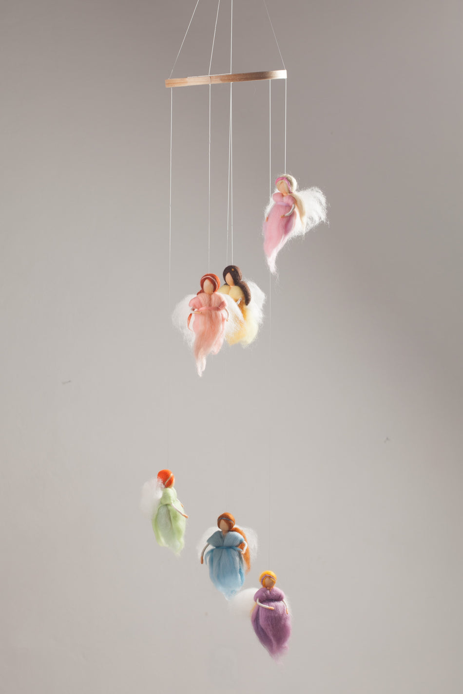 WOOL PASTEL FAIRIES MOBILE / BABY NURSERY DECOR