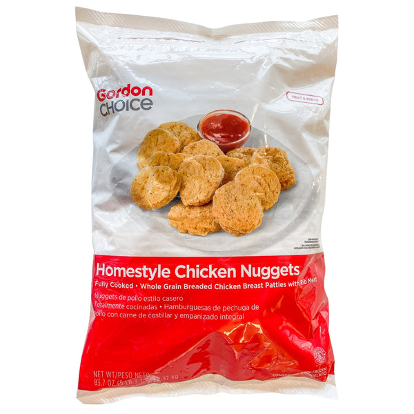 Homestyle Whole Grain Chicken Nuggets, Breaded, Breast Meat, Gordon Choice. 64 Ounce, Cooked, Frozen, 5 Lb Bag