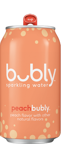 Free Bubly Sparkling Water,  Peach Flavor, 12 fl oz Cans, 8 Pack - Limited 1 per customer