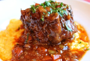 Osso Bucco style braised beef and sauce (Each container serves 3-4 person)