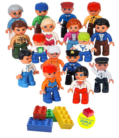 Kids Toys,Community Figures for Preschool Building Blocks 16 Pc Set, Compatible with All Major Brands