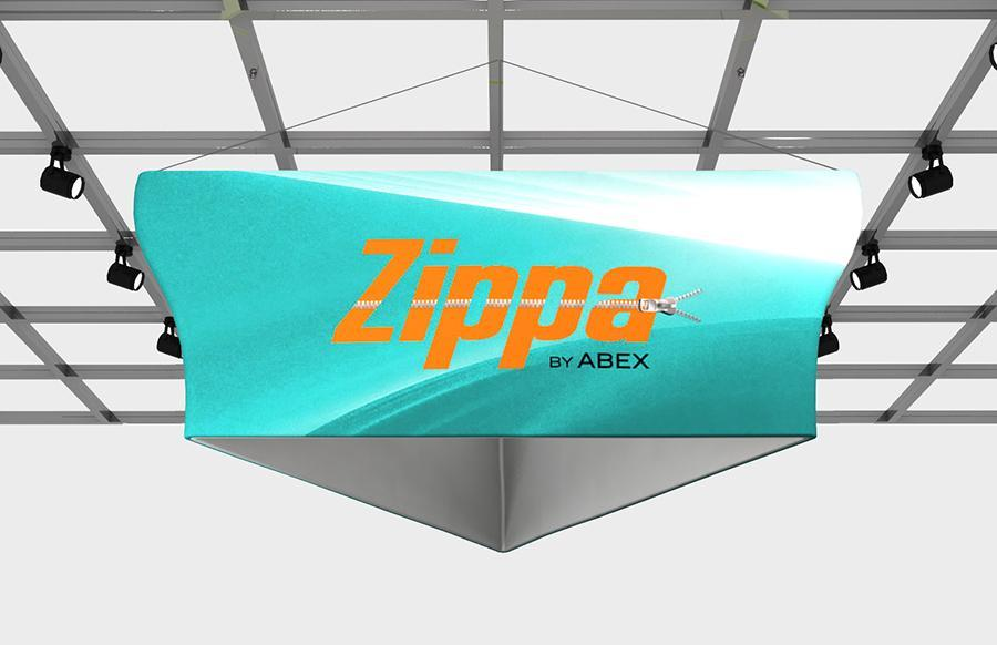"Zippa Tapered Triangle 14' x 48"" Fabric Trade Show Sign"