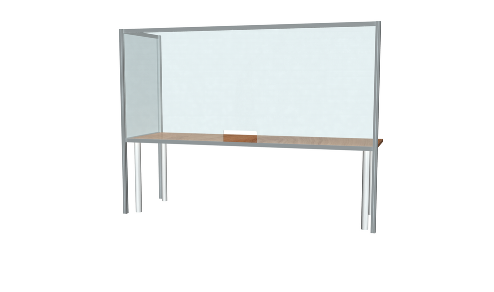 "L-Shaped Desk Sneeze Guard 30"" X 96"""