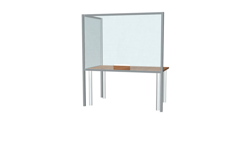 "L-Shaped Desk Sneeze Guard 36"" X 60"""
