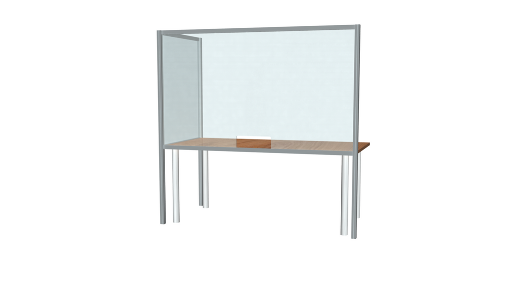 "L-Shaped Desk Sneeze Guard 36"" X 72"""