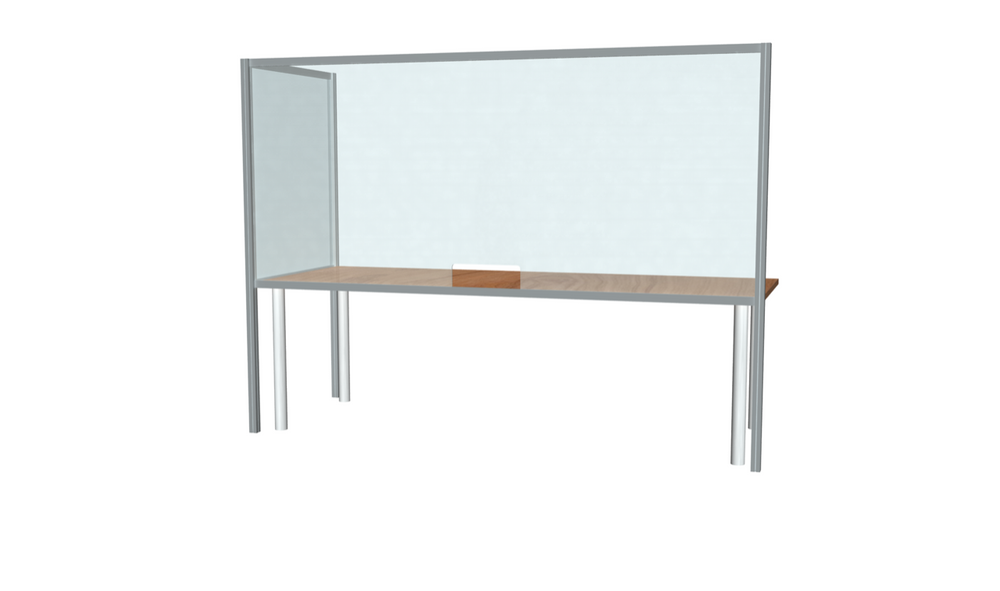 "L-Shaped Desk Sneeze Guard 42"" X 96"""