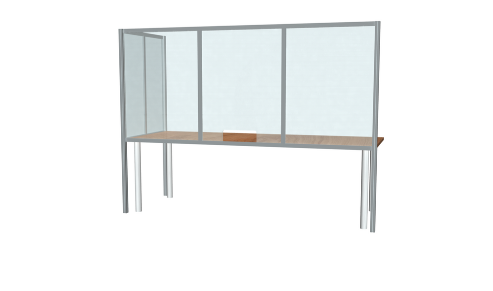 "L-Shaped Desk Sneeze Guard 36"" X 96"""
