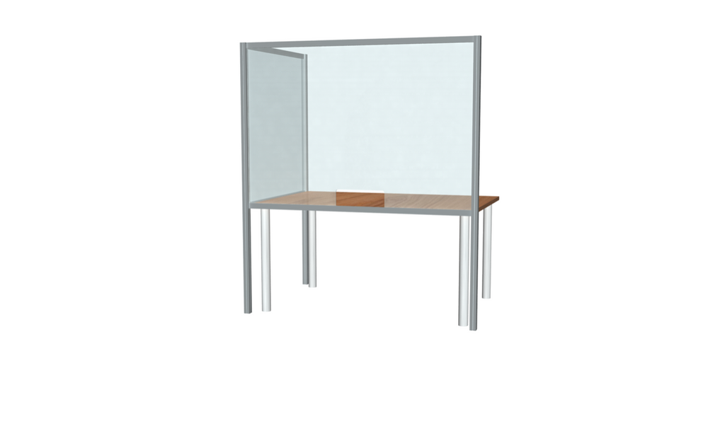 "L-Shaped Desk Sneeze Guard 42"" X 60"""