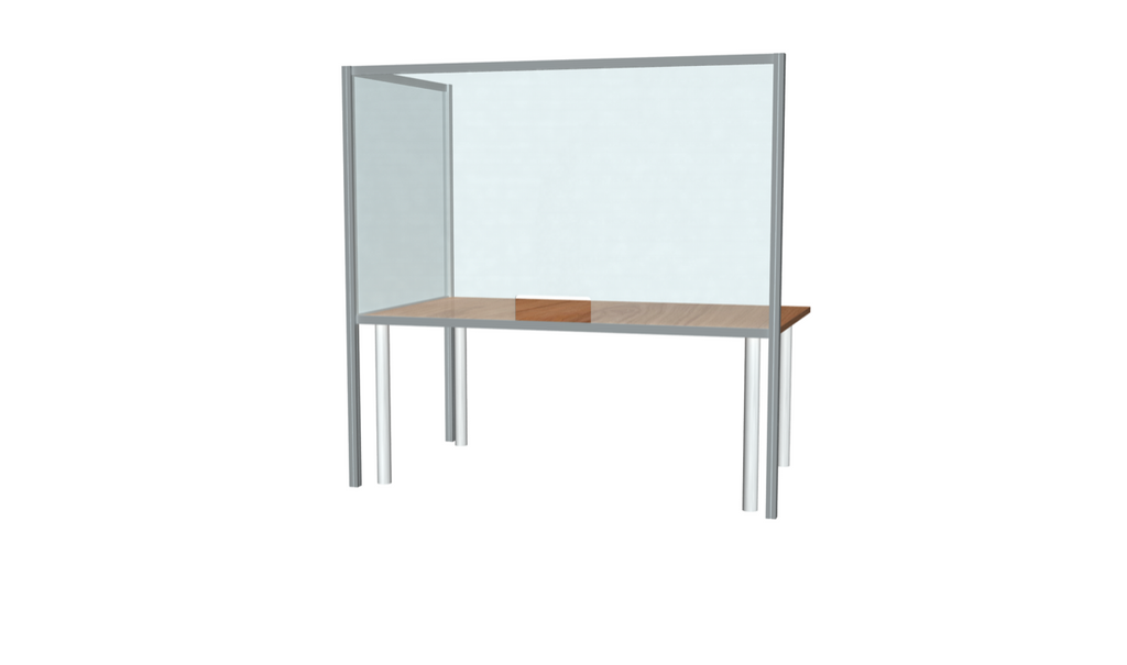 "L-Shaped Desk Sneeze Guard 42"" X 72"""