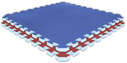 "Jumbo Reversible SoftFloors 2' x 2' x 1"" - Red/Royal Blue"