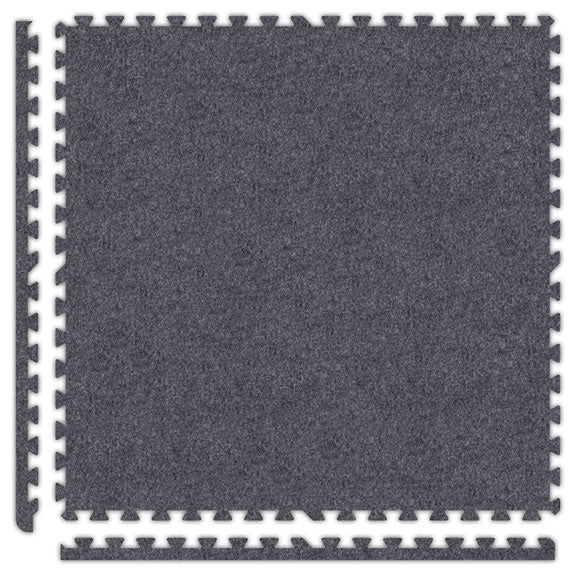 "SoftTuff Reversible Gym FloorProtect 1m x 1m x 3/16"" - Black/Grey"