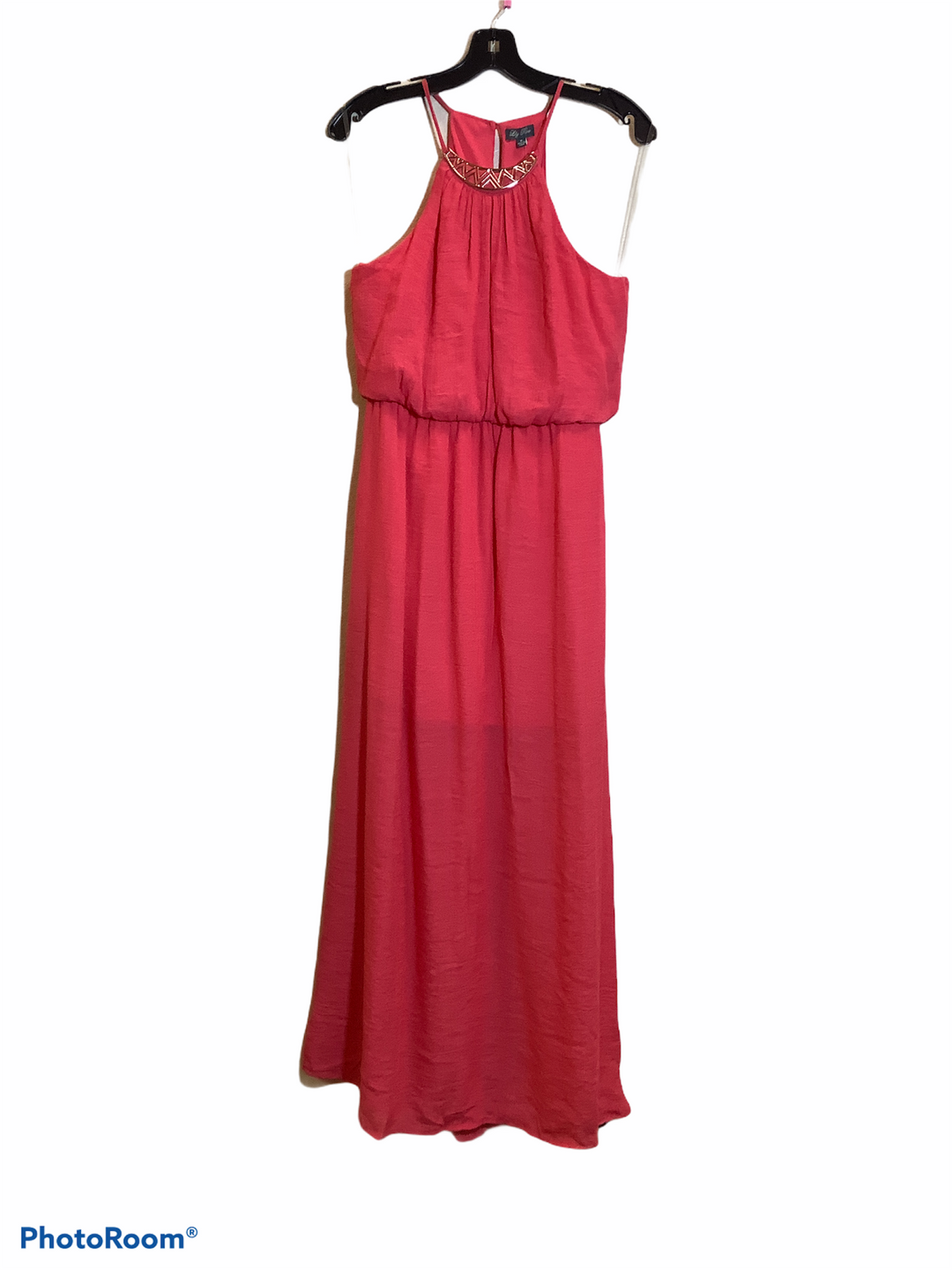 Primary Photo - BRAND: LILY ROSE <BR>STYLE: DRESS LONG SLEEVELESS <BR>COLOR: CORAL <BR>SIZE: M <BR>SKU: 256-25661-9183