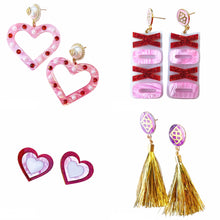 Load image into Gallery viewer, PINK PEARL HEART EARRINGS
