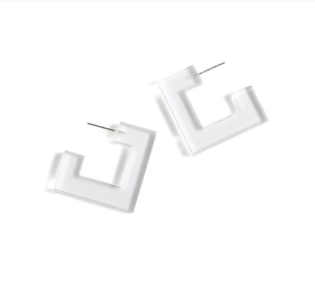 PETRA CLEAR SQUARE EARRINGS