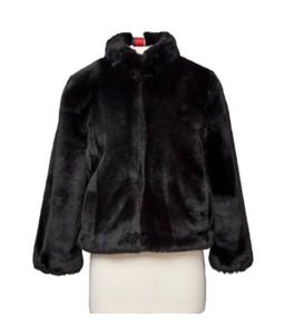 BLACK FAUX FUR REVERSIBLE BOMBER