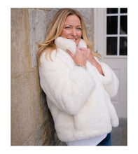 Load image into Gallery viewer, WHITE FAUX FUR REVERSIBLE BOMBER
