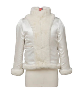 WHITE FAUX FUR REVERSIBLE BOMBER