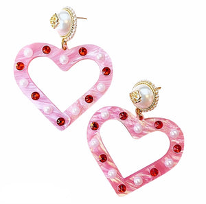 PINK PEARL HEART EARRINGS
