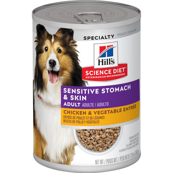 Hill's Science Diet-  Adult Sensitive Stomach & Skin Chicken & Vegetable Entrée Can-9.6oz
