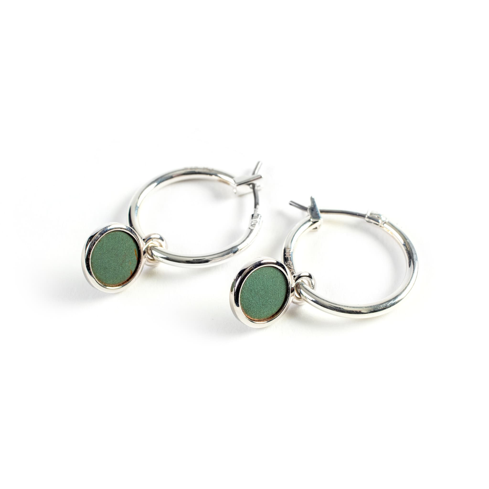 Hoop Earrings with Bezel Drop
