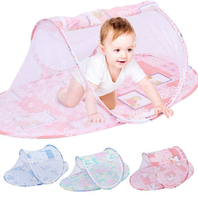 Foldable Summer Mosquito Crib Net Children Portable Folding Baby Travel Bed Baby Cots Newborn Tent Breathable Print Bench Bed