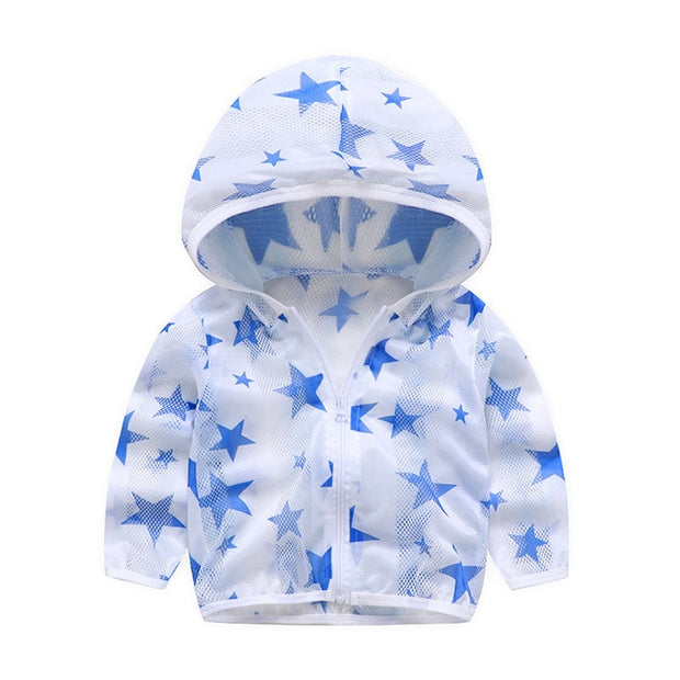 Baby Boy Girl Hooded Summer Rash Guards Anti-Mosquito Beach Outside Sun Protection Coat Swearshirt Zipper Printing Lovely Hoodie