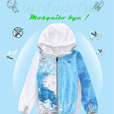 High-end mosquito repellent fabric Children clothing Anti UV Ice silk Sun fishing clothes Quick drying Outdoor boy kids jackets 18.99