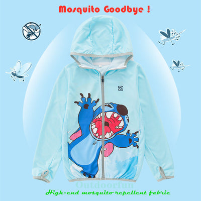Real mosquito repellent fabric Child cartoon Sun clothing Anti UV Ice silk fishing clothes Quick drying Outdoor boy kids jacket 18.47