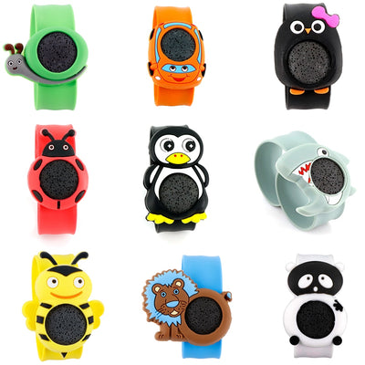 Animal Silicone Slap Bracelet Cartoon Mosquito Repellent Essential Oil Diffuser Lava Stone Bangle Kids Wristbands 3.19