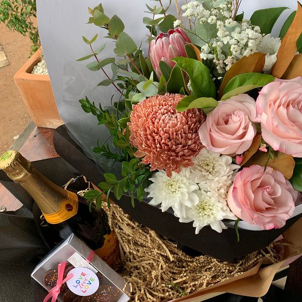 Lucy Gift Box Hamper // Mother's Day Flowers, Chocolates & Bubbles