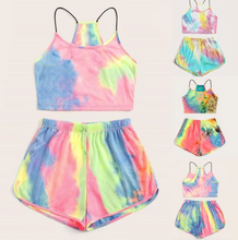 Load image into Gallery viewer, Tie Dye Lounge Wear Crop without Sleeves Set