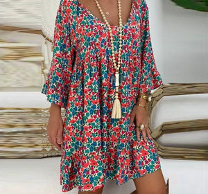 Loose Bell Sleeve V-neck Mini Dress