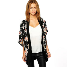 Load image into Gallery viewer, Black Floral Kimono