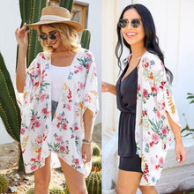 Load image into Gallery viewer, Floral Chiffon Beach Kimono-White