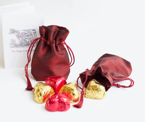 Chocolate Heart Silk Sachets