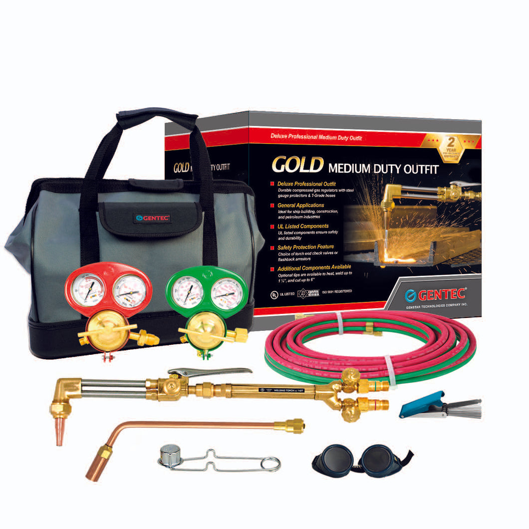 GENTEC 1138FA Gold Series Iron Horse Oxy-Acetylene Medium/Heavy Duty Deluxe Outfit for General Purposes