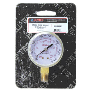 "GENTEC G20-300SP Steel Case Gauge, Dual Scale. 1/4"" NPT Inlet for Industrial Gas Regulators"