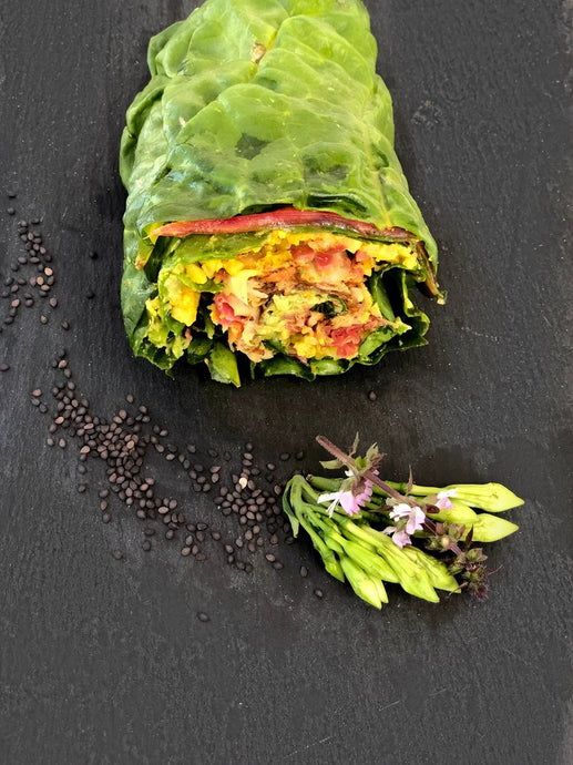Golden Cauliflower Rice Chard Burrito